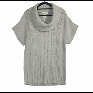 Sweater project gray cowl neck cable knit nwt